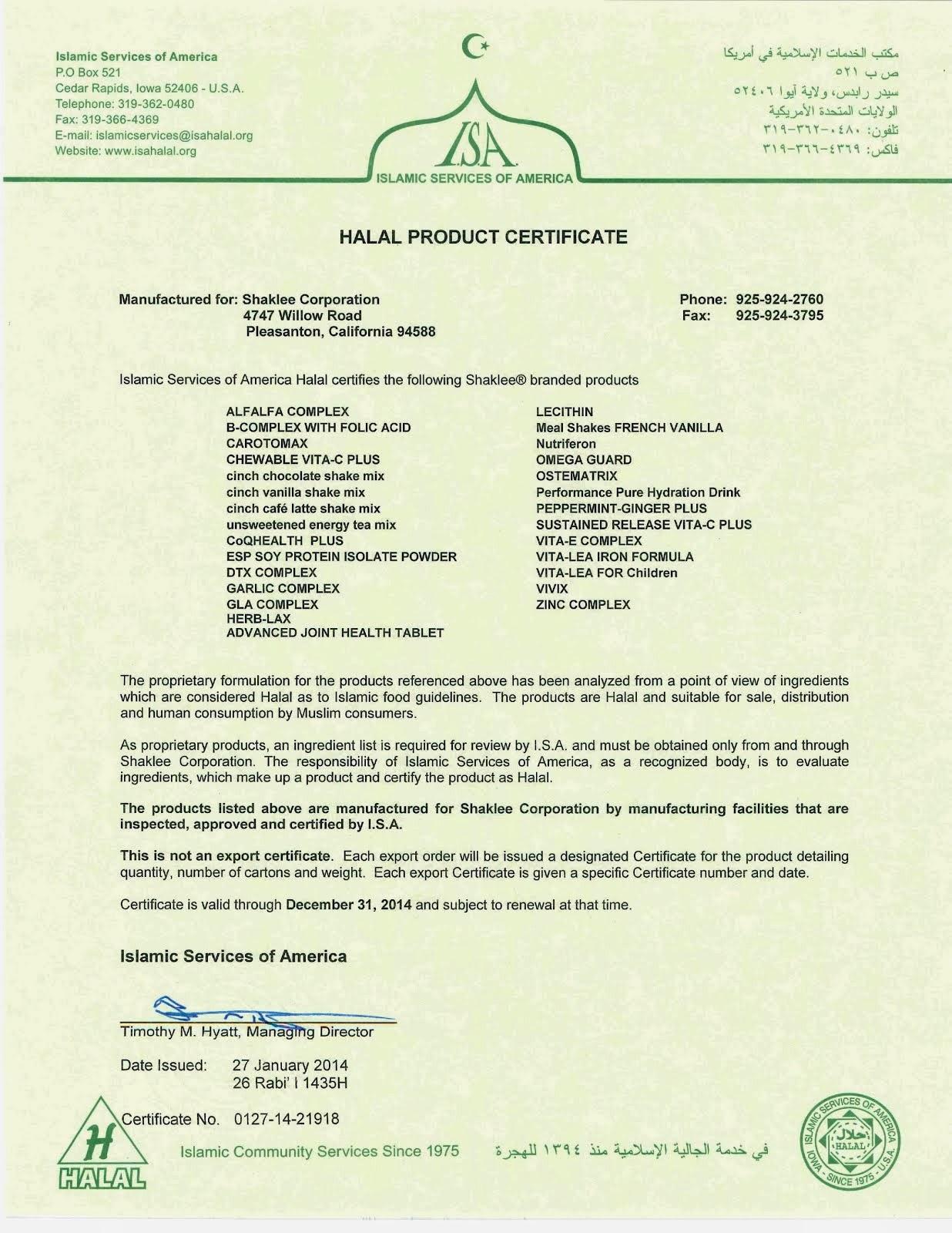 Certificate of Halal