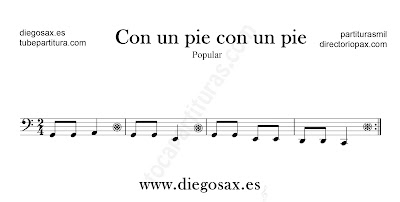 Con un pie con un pie partitura para Trombón, Tuba, Violonchelo, Fagot, Bombardino... en clave de Fa