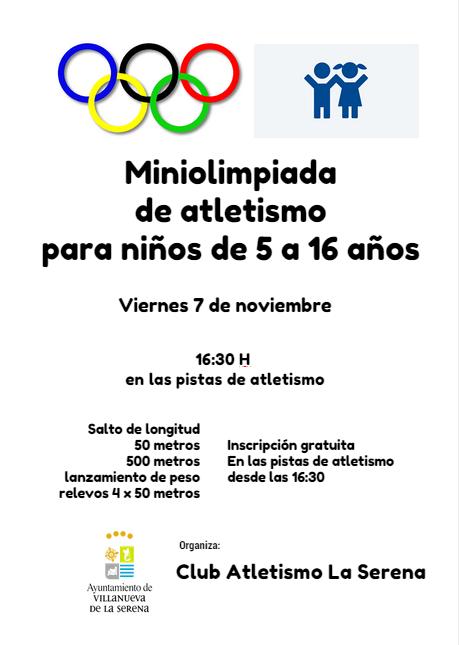 Miniolimpiada de atletismo  para niños de 5 a 16 años