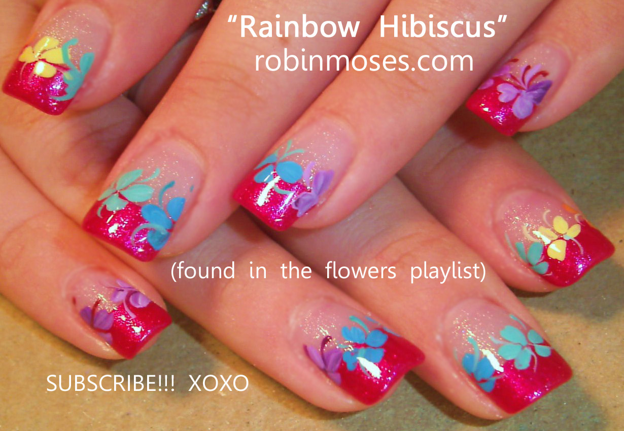 rainbow nail art, rainbow flower nails, rainbow flower nail art, rainbow hawaiian  nails, hawaiian nail art, hibiscus nail art, rainbow hibiscus nail art, ... - Nail Art Design: Rainbow Nail Art, Rainbow Flower Nails, Rainbow