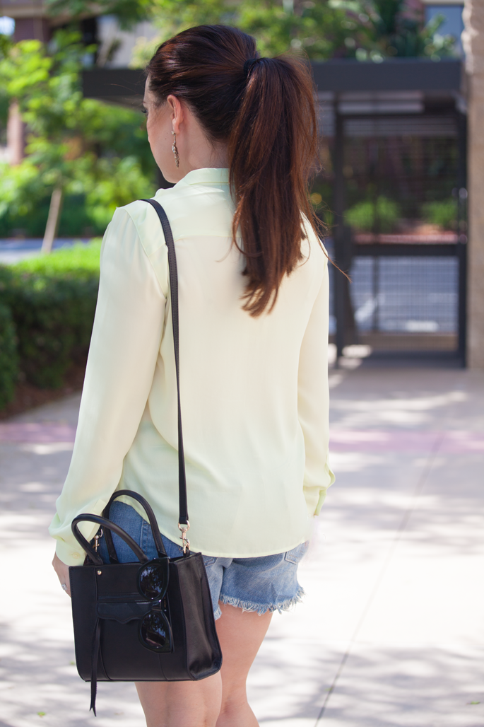 casual summer outfit idea, pony tail, rebecca minkoff mini mab tote