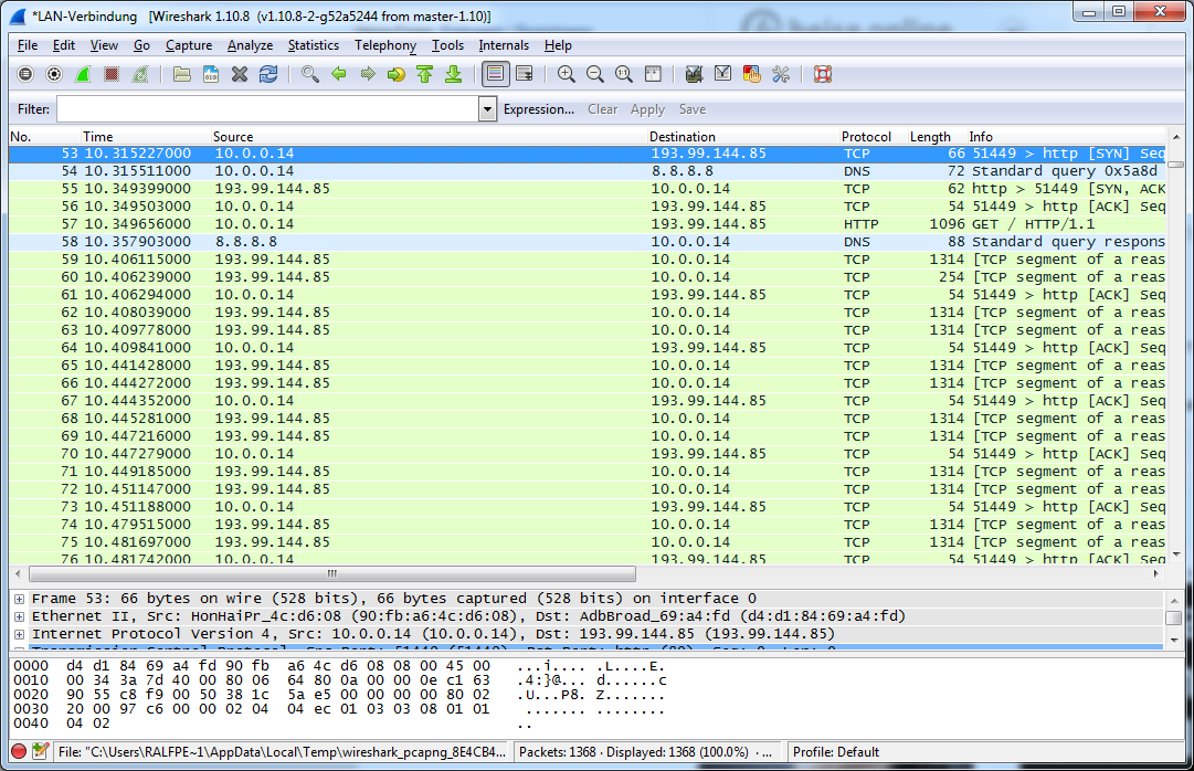 Wireshark main window