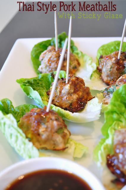 Thai style pork meatballs with sticky glaze