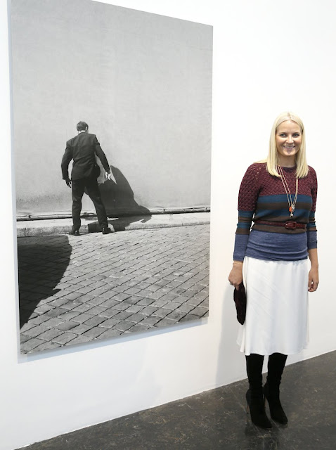 Crown Princess Mette-Marit of Norway attended the opening of a photography exhibition in memory of artist Diptyk/Tom Sandberg at Kunstnernes Hus in Oslo