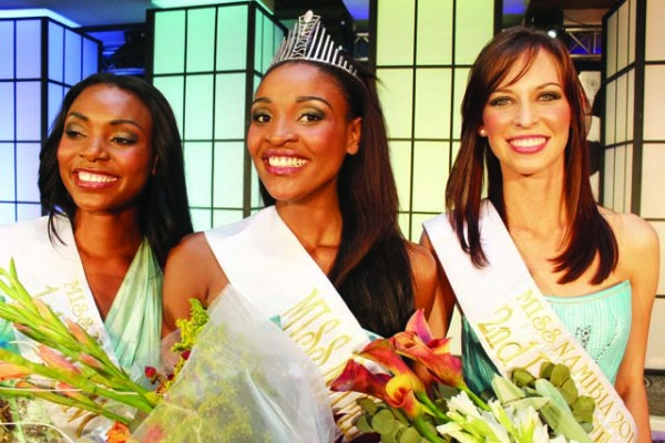 Winner of Miss Namibia 2012 Tsakana Nkandi with her 1st and 2nd runners-up Monique Peters and Patricia Hanstein
