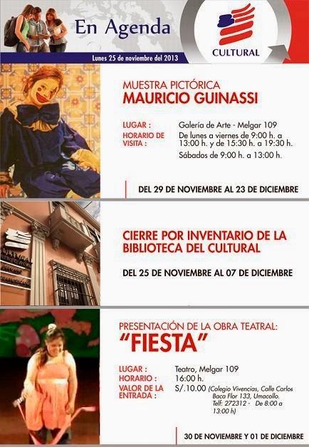 Agenda Cultural Semana 4 (30 nov - 01 dic)