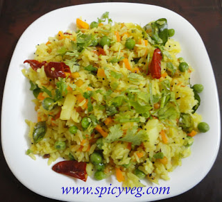 Mixed Vegetable Poha - Flattened Rice With Vegetables