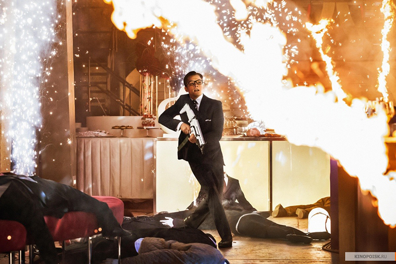 Kingsman: The Secret Service Eggsy fight scene Taron Egerton 2015 movie