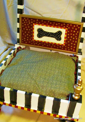 striped dog bed with dog bone all handpainted