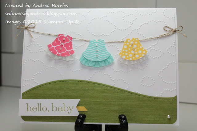 Use the Owl Builder punch, patterned paper and ribbon to make dresses for a sweet baby card.