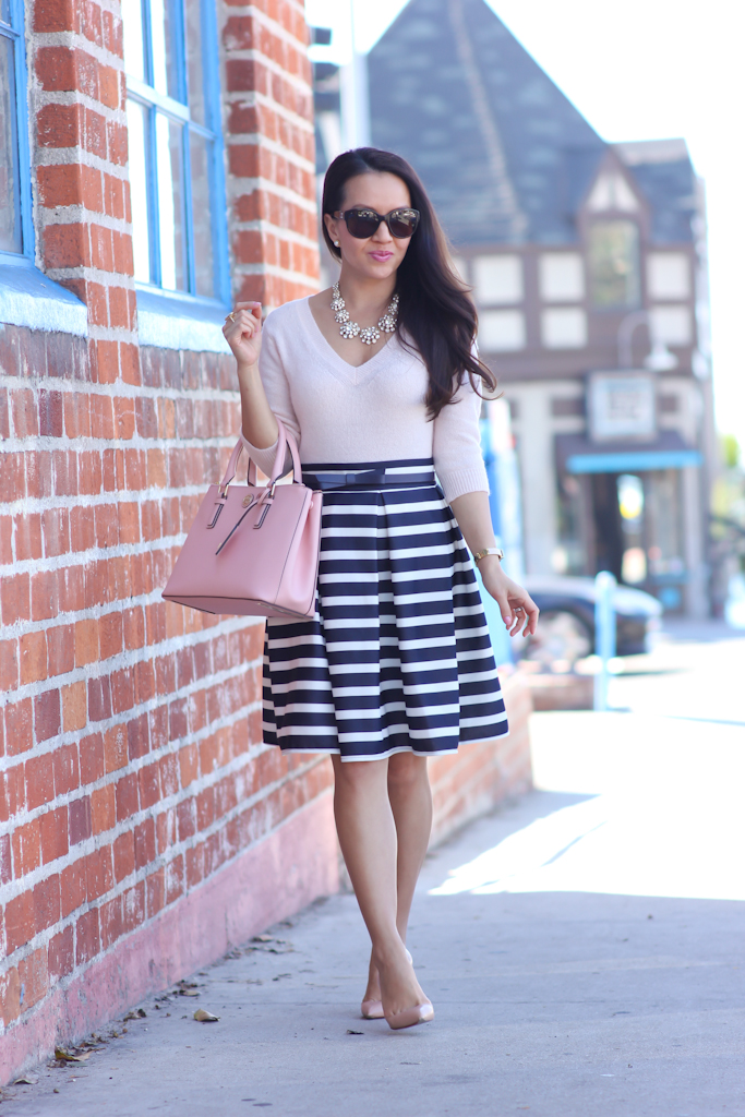 navy striped skirt pink v-neck sweater kate spade new york bow belt tory burch mini robinson double zip tote rose sachet nude pumps