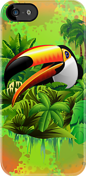 Toucan on Green Wild Green Jungle iPhone Cases
