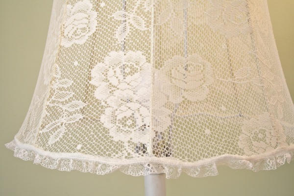 The polka dot closet covering a lamp shade with lace i love the look of lace covered lamp shades aloadofball