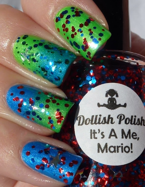 It's A Me, Mario! Go Luigi! - Dollish Polish, I'm With The Lifeguard, Splish Splash - China Glaze, Gradient Nails