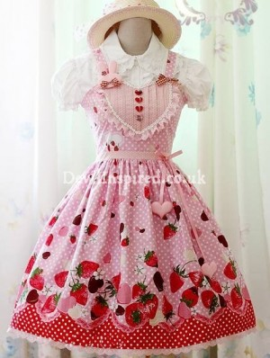 Sweet Strawberry Printed Rococo Lolita Dress