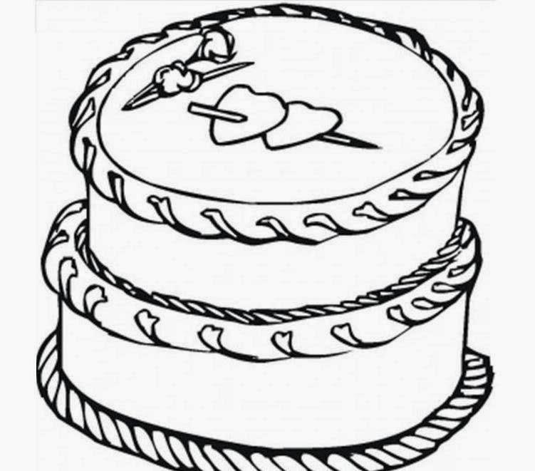 Birthday Cake Printable Coloring Drawing Free wallpaper