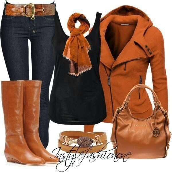 Comfortable brown jacket, black blouse, scarf, long brown boots and jeans for fall