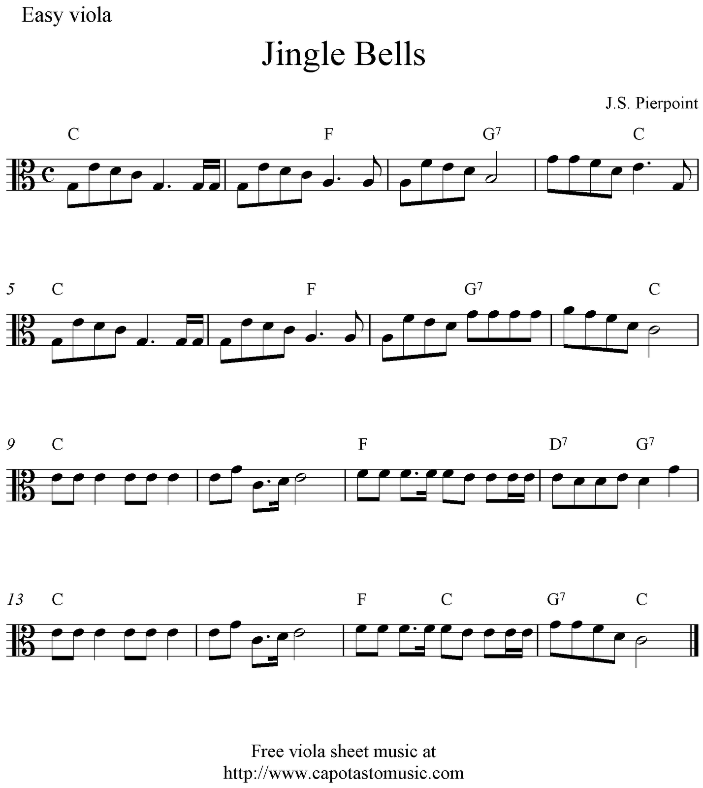 Free Christmas viola sheet music, Jingle Bells