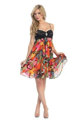 Colorful+Multi+Print+Empire+Chiffon+Short+Prom+Dress