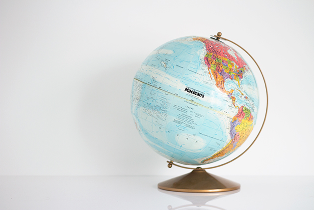 Inexpensive globe from Kijiji.