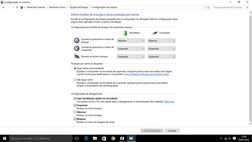 Usuário pode escolher o que o Windows fará ao fechar tampa de notebook ou apertar botão desligar