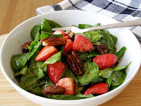 Baby Spinach Salad with Maple Candied Pecans, Strawberries and Balsamic Dressing
