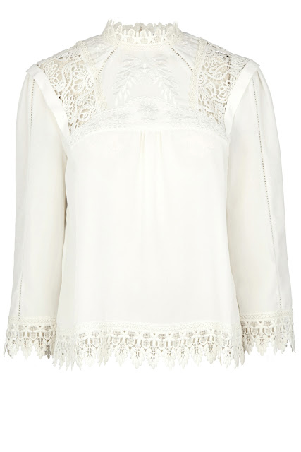 cream high collar embroidered top, cream victorianna blouse, warehouse victorianna top,