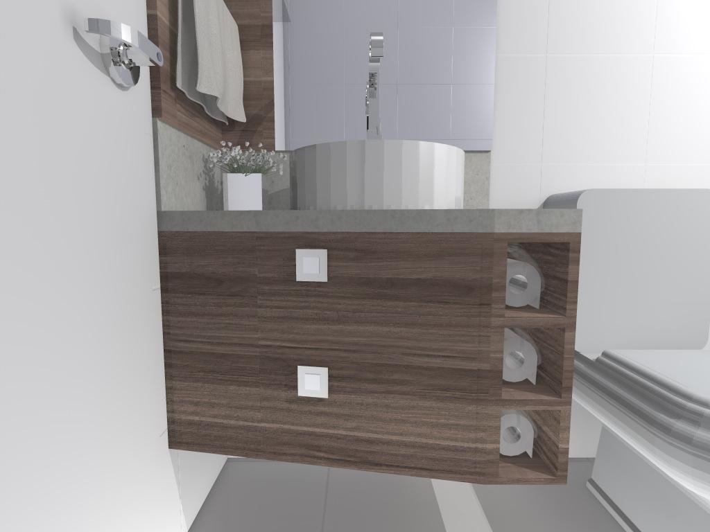 bancada em melamina recebeu nichos para guardar papel e duas portas  #5C4E47 1024x768 Banheiro De Apartamento Com Exaustor
