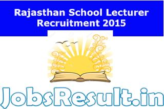 Rajasthan School Lecturer Recruitment 2015