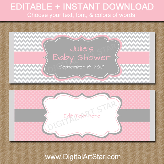 digital candy wrappers in pink and gray chevron
