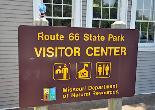 troll and Route 66 State Park Visitor Center sign in Missouri