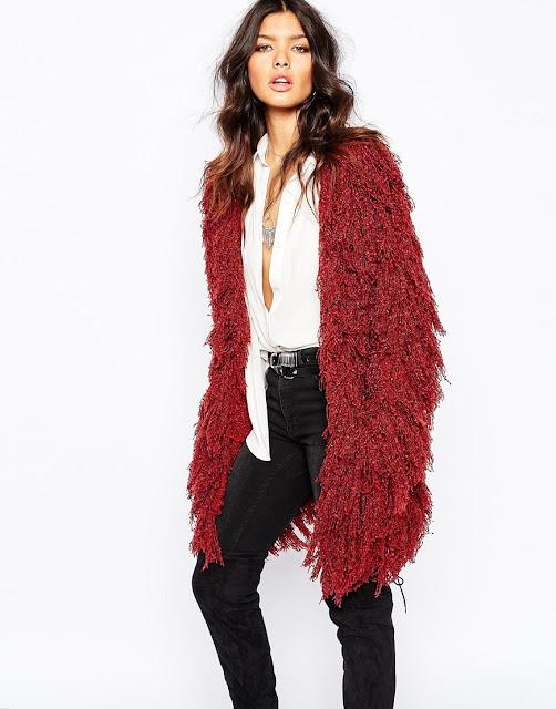 lovers drifters shaggy fur coat, burgundy shaggy coat, red shaggy fur coat,