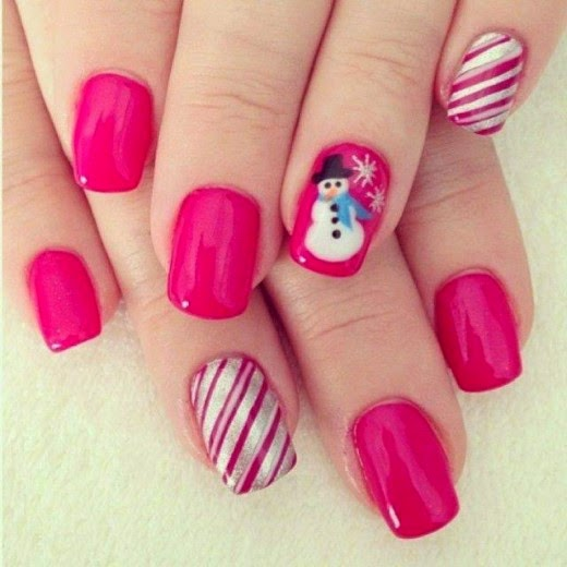 Pink Nail Art Snow Man