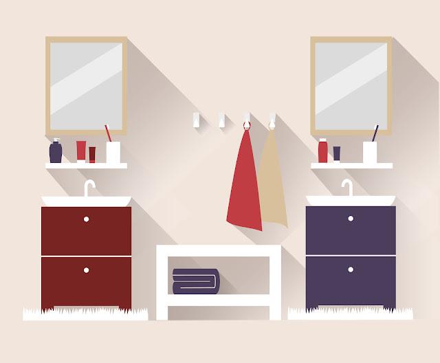 ilustração banheiro com pia dupla