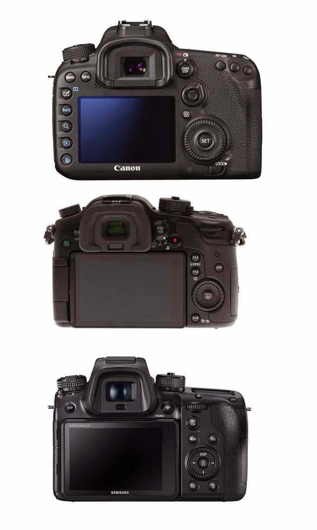 Fotografia del monitor della Canon EOS 7D Mk II, Panasonic GH4 e Samsung NX1