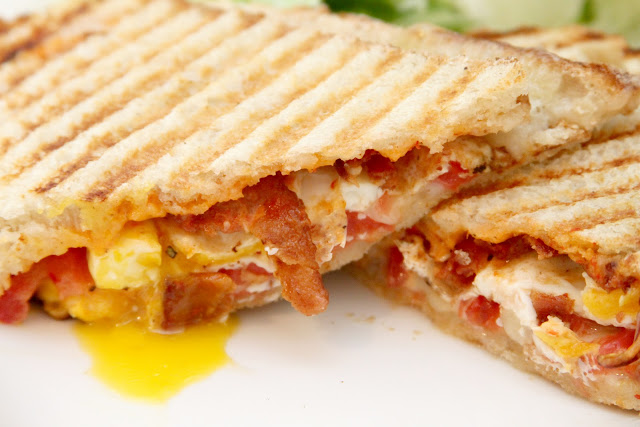 ... : fried egg, bacon, and gruyere panini with red pepper aioli