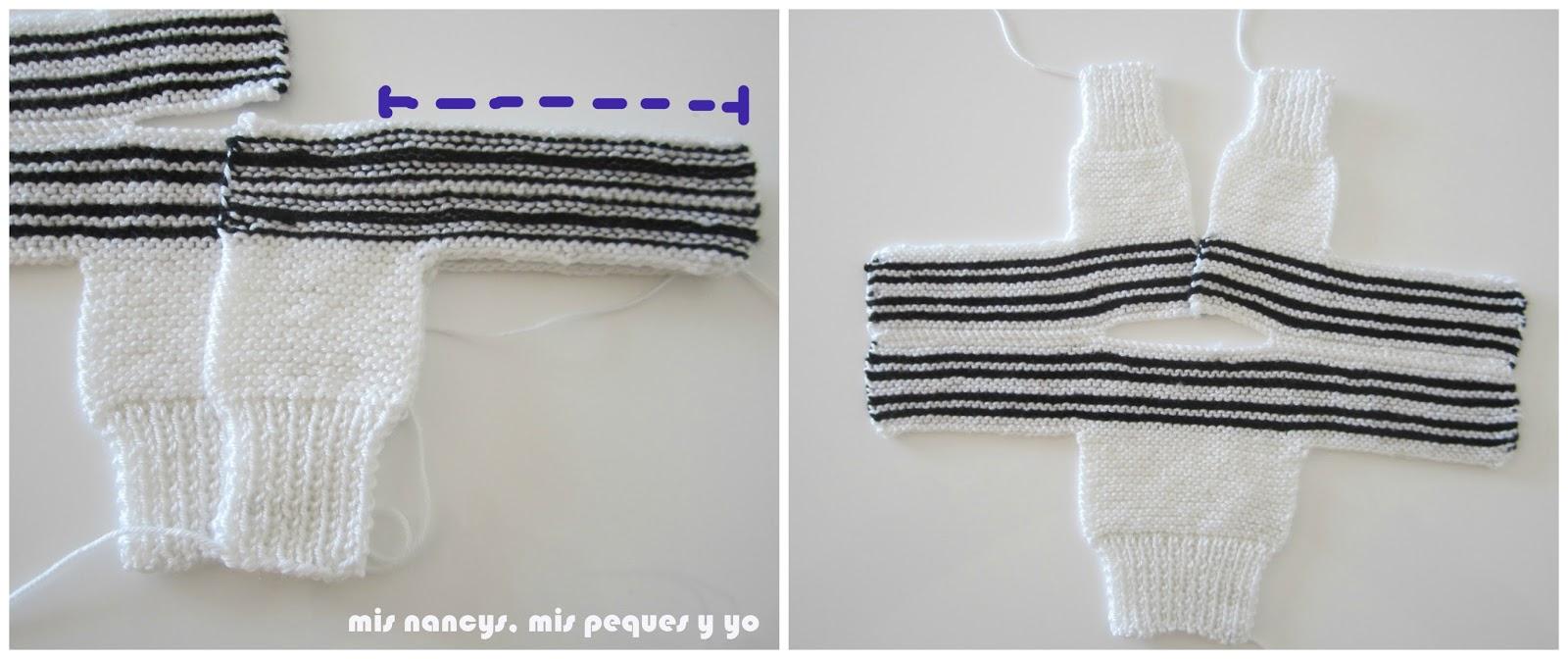 mis nancys, mis peques y yo, tutorial jersey de lana para Nancy, parte delantera, cosemos otro hombro