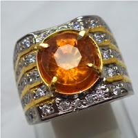 Cincin Batu Permata Natural Hessonite Garnet