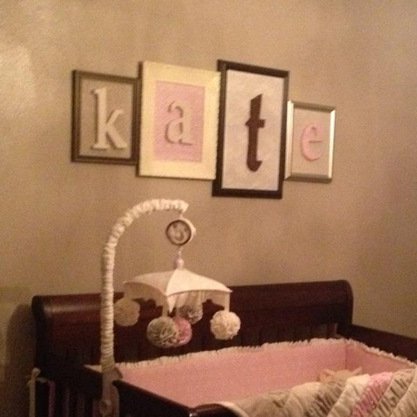 Utah County Mom: Kate\'s nursery: Framed name over crib