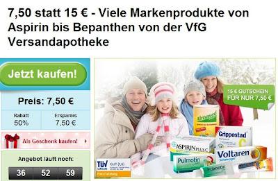 Groupon: 15-Euro-Gutschein für Versandapotheke vfg.com zum Preis von 7,50 Euro