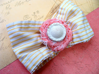 white vintage button center on hair bow for accessorizing for eco chic