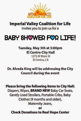 Dr. Alveda King will address the El Centro, California City Council at 6 p.m. on Tu.5May15