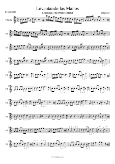 Partitura de Levantando las Manos para Flauta Travesera, flauta dulce y flauta de pico de El Símbolo Partituras para Charanga Musical Score Flute and Recorder Sheet Music Levantando las Manos