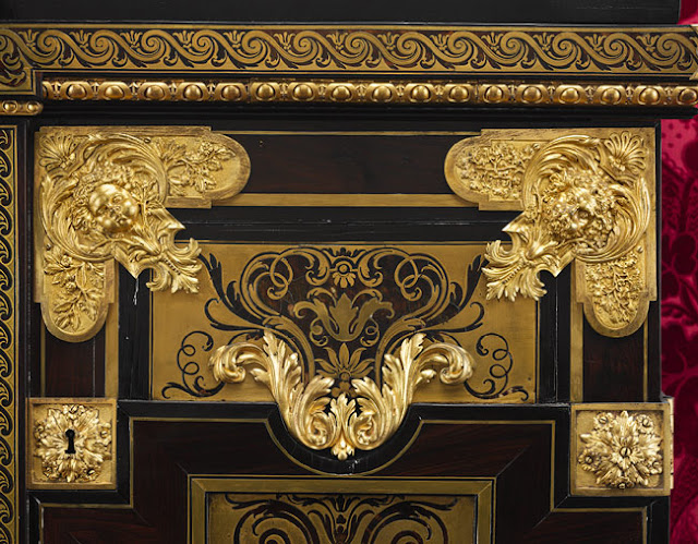 Armoire, ca. 1710  Attributed to André–Charles Boulle Tortoiseshell, engraved brass, and ebony on oak; gilt–bronze