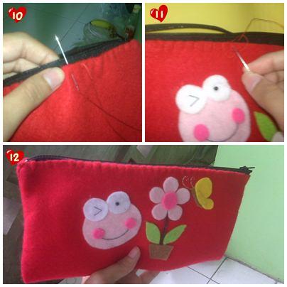 Cara membuat Kotak Pensil dari kain Flanel