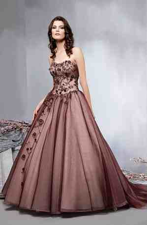 Pink brown wedding gown ball gown chooses women dress for Brown dresses for a wedding