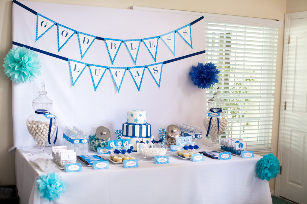 lucas baptism dessert table a gorgeous baptism table in blue
