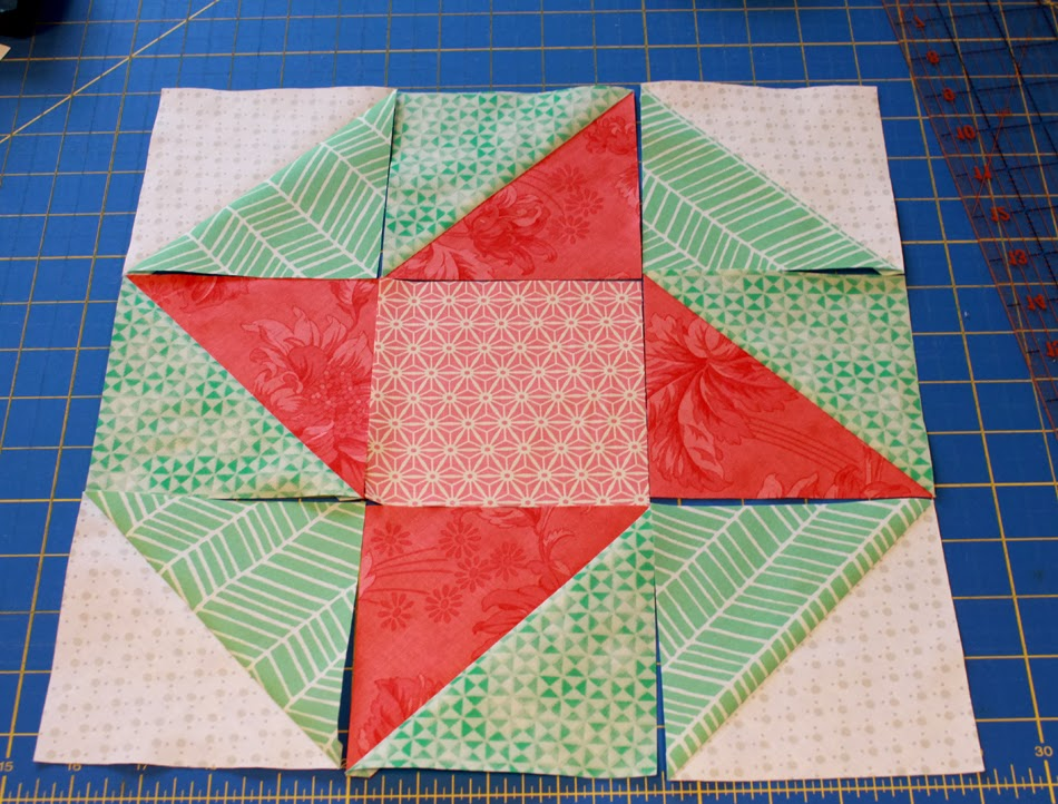 Sun and Surf scrappy quilt block tutorial via A Bright Corner
