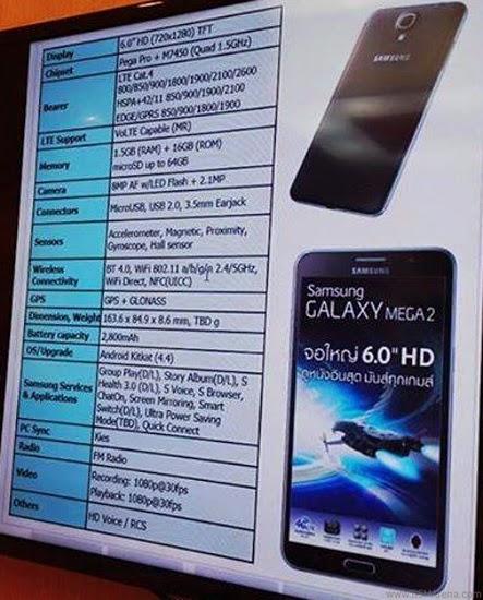 Galaxy Mega 2'nin Özellikleri