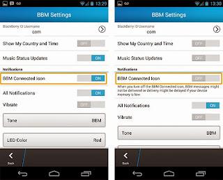 screenshoot untuk menDisable BBM conected icon